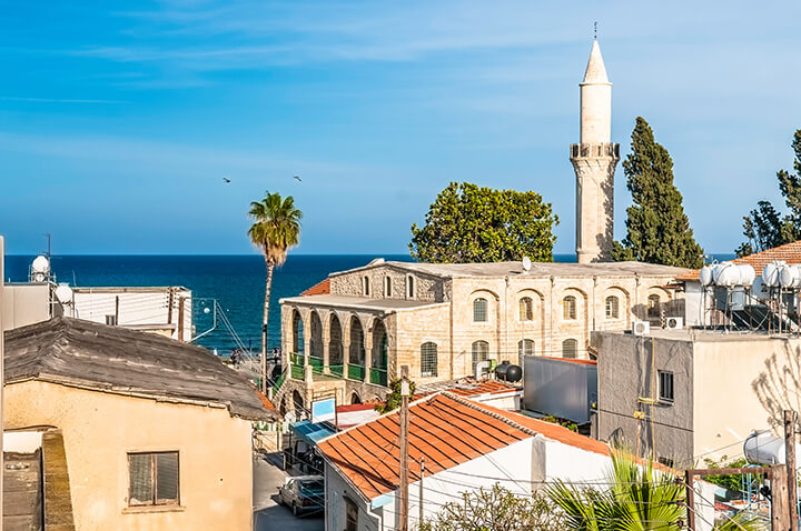 The old town of Larnaca in the historic district.