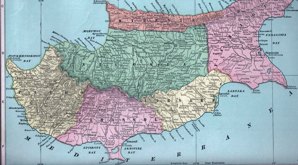 1899 Cypriot map excluding Famagusta.
