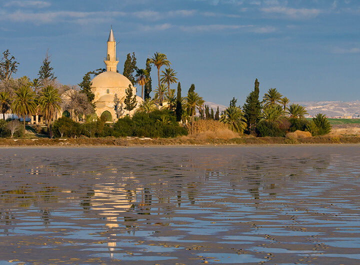 Hala Sultan Tekke sits on the shore of Larnaca Salt Lake.