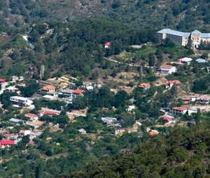Aerial view of Prodromos village in Limassol district, Cyprus.