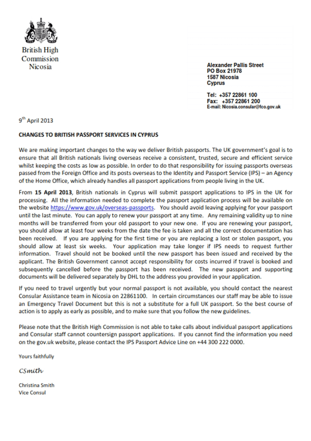 Changes to British passport services in Cyprus by the British High Commission, dated April 9, 2013.