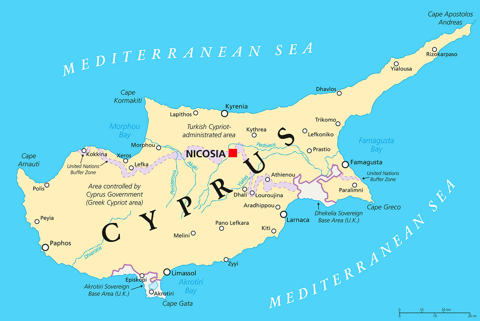 This is the map of Cyprus shown in slightly larger size. Here you will see the area to the North of the 'United Nations Buffer Zone' line is occupied by Turkey. Also, the six main districts of Cyprus being Limassol, Larnaca, Nicosia, Paphos, Famagusta, and Kyrenia.