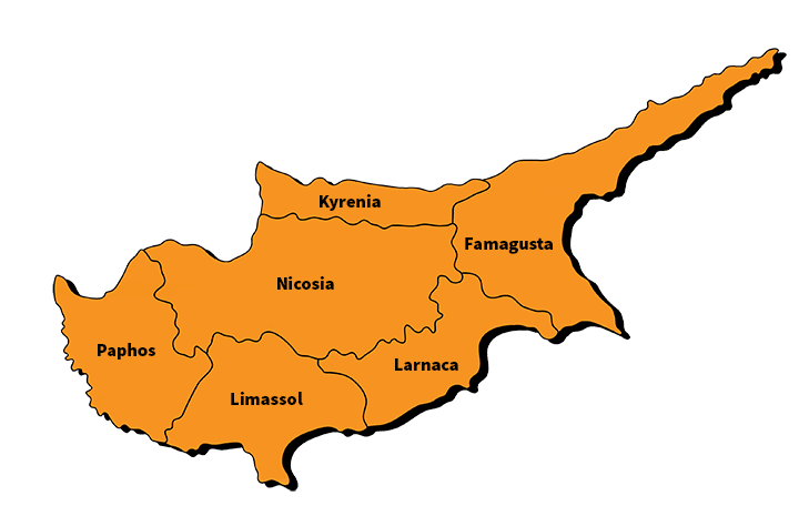 The districts of Cyprus