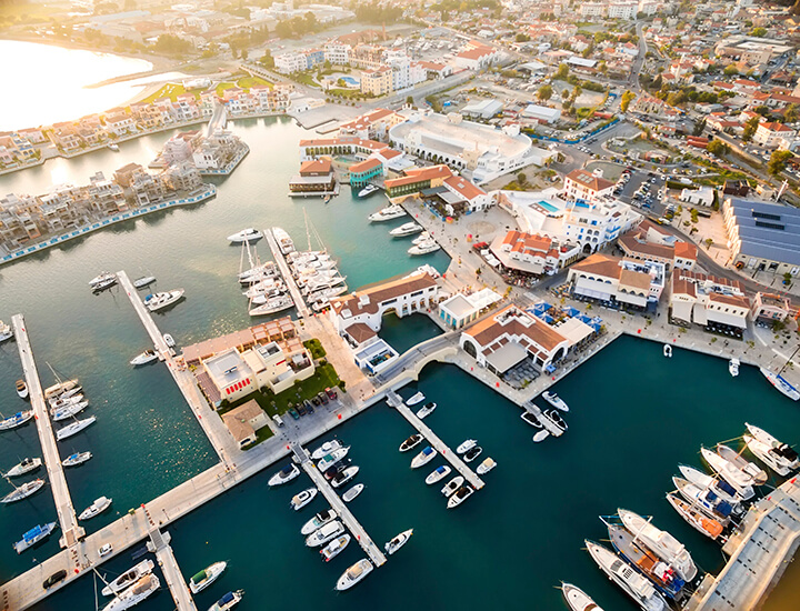 Aerial view of the Limassol Marina