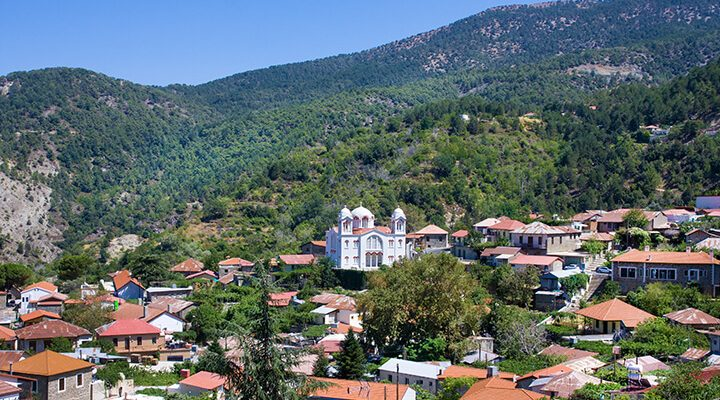 The village of Pedoulas in the Troodos Mountains.