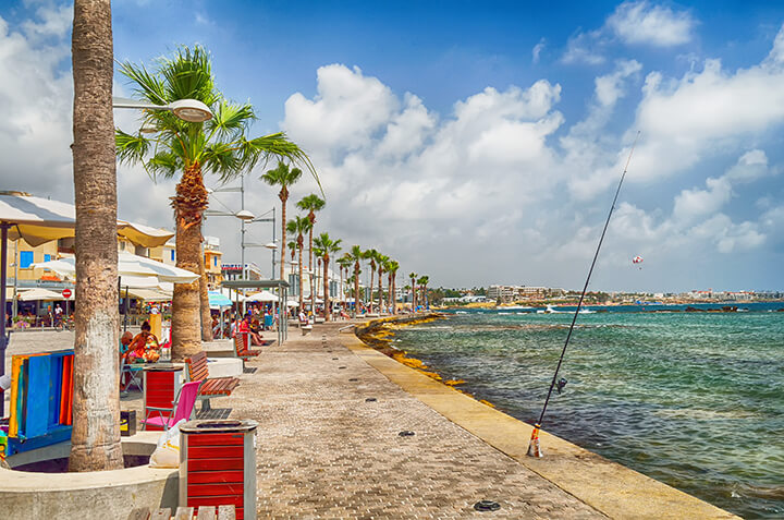 Seaside tourist area in Paphos.